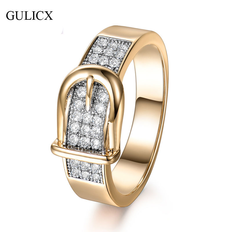 GULICX Shining Belt Rings Women Tiny CZ Paved Cubic Zirconia Stone Accessories Wedding Jewelry Birthday Gift