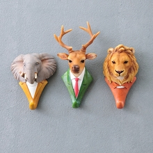 New Fashion Animal Decorative Hook Deer Lion Eagle Gorilla Rhino Elephant Horse Creative Hook Wall Decoration Xmas Gift