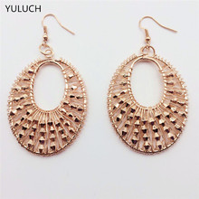 pair new arrival Golden Texture Personality Female Quality bead jewelry Earrings(China)