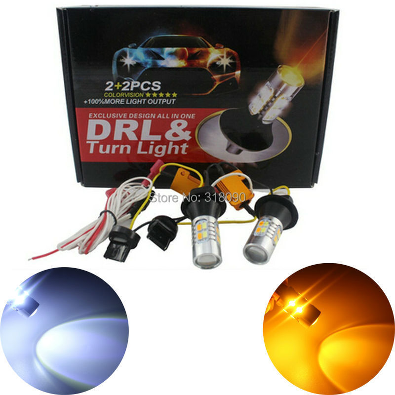 NEW Brand! 1Set 7440 W21W 7441 5730 20SMD Amber/White Switchback LED Bulbs SMD T20 Turn Signal Reverse Lamps 12V Dual Colors<br><br>Aliexpress