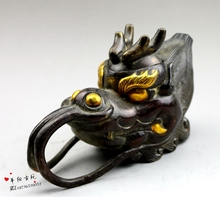 Antique miscellaneous bronze collection of copper gilt sculpture gold dragon pot Jiuhu copper teapot / small Jiuhu Decoration