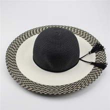 Black And White Grid Women's Wide Brim Caps Tassel Foldable Summer Beach Sun Straw Hats Wide Brim 42cm(China)