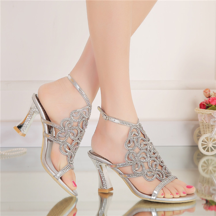 New Casual Wedding Silver Open Toe High Heel Shoes Diamond Female Womens Summer Sandals Size 11 Good Quality4