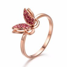 Robira Ruby Engagement Rings For Women 14K Rose Gold Wedding Rings Female Butterfly Natural Ruby Jewelry Top Quality(China)