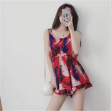 Summer Jumpsuits Korea New Style Ladies Fashion Jumpsuits Printed Sleeveless Conjoined Shorts Women Slim Sexy Jumpsuits G2755(China)