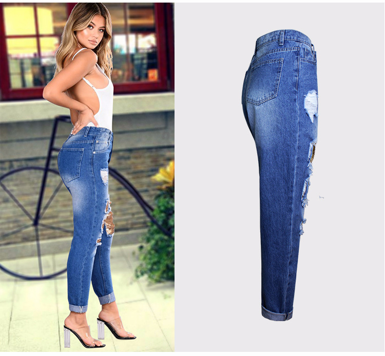 2018 Casual European Station Europe and the United States Style BF Wind Women Sequin Straight Hole Large jeans New Loose pants (4)