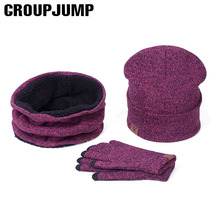 A Set Of Men Women Winter Hats Scarves Gloves Cotton Knitted Hat Scarf Set For Male Female Winter Accessories 3 Pieces Hat Scarf(China)