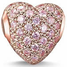 TS 925 Sterling Silver Zirconia-pave Pink Beads, Thomas Style DIY Beads for Jewelry Making Fit Bracelets Necklace for Women Men