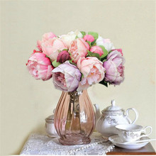 Wedding flower Fake roses bouquet Real touch PU peony 8 flower head artificial flowers for wedding decoration home decor