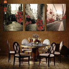 Giveaways wall sticker 3 Pcs/Set Vintage Painting Canvas Wall Art Canvas Print  Building red rose flower Picture