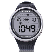 XONIX Mens Sports Watch Digital Waterproof 100m Chrono Self Calibrating Silicone Strap Multifunction Swim Outdoor Wristwatch