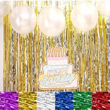 1x2 Meters Gold Foil Fringe Tinsel Curtain Tassel Garlands Wedding Photography Backdrop Birthday Party Colorful Streamers