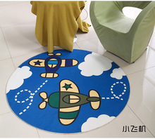 Blue Plane Round Mat 60/80/100/120/160CM alfombras dormitorio Carpet Living Room Deurmat rugs Swivel chair Mats tapis chambre