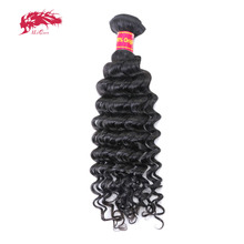"Ali Queen Hair Products Deep Wave Virgin Brazilian Hair Bundles Natural Color 12"" to 28"" 100% Human Hair Weave(China)"