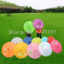 Free shipping 10pcs/lot Small size hand-painted flower design 10colors decorative Chinese Children umbrella Folk Art parasol