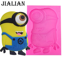Cartoon small yellow people chocolate cake decorating tools DIY baking fondant silicone mold handmade soap mold T0378