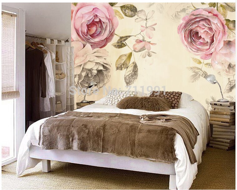 Free shipping custom 3 d modern mural Nostalgic rose The sitting room sofa bedroom TV setting wall wallpaper <br>