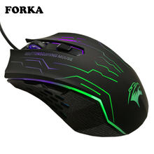 FORKA Silent Click USB Wired Gaming Mouse 6 Buttons 3200DPI Mute Optical Computer Game Mouse Mice for PC Laptop Notebook Gamer