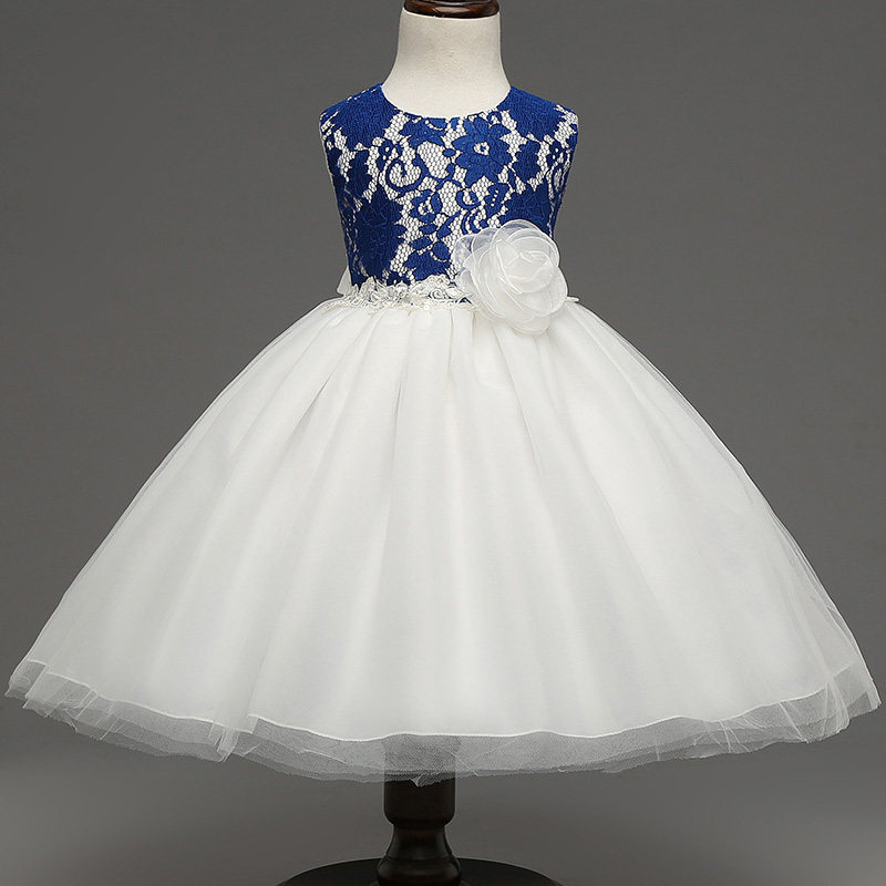 new  Full dress  Girls  sleeveless  Princess Party Dress  bow  Lace  wedding dress girl long dress red <br><br>Aliexpress