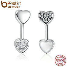 BAMOER New Arrival 925 Sterling Silver Hearts of Love Stud Earrings for Women Clear CZ Sterling Silver Jewelry Bijoux PAS502(China)