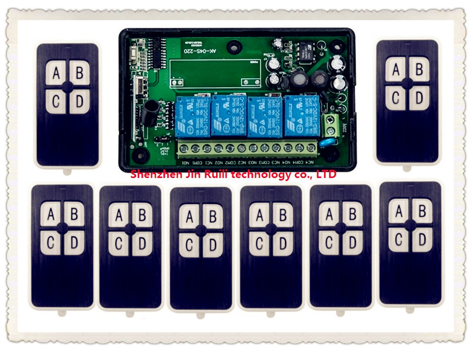 AC 110V 220V 230V RF 4CH Wireless Remote Control Relay Switch Security System Garage Doors &amp; Electric Doors @ 8 * transmitter <br>
