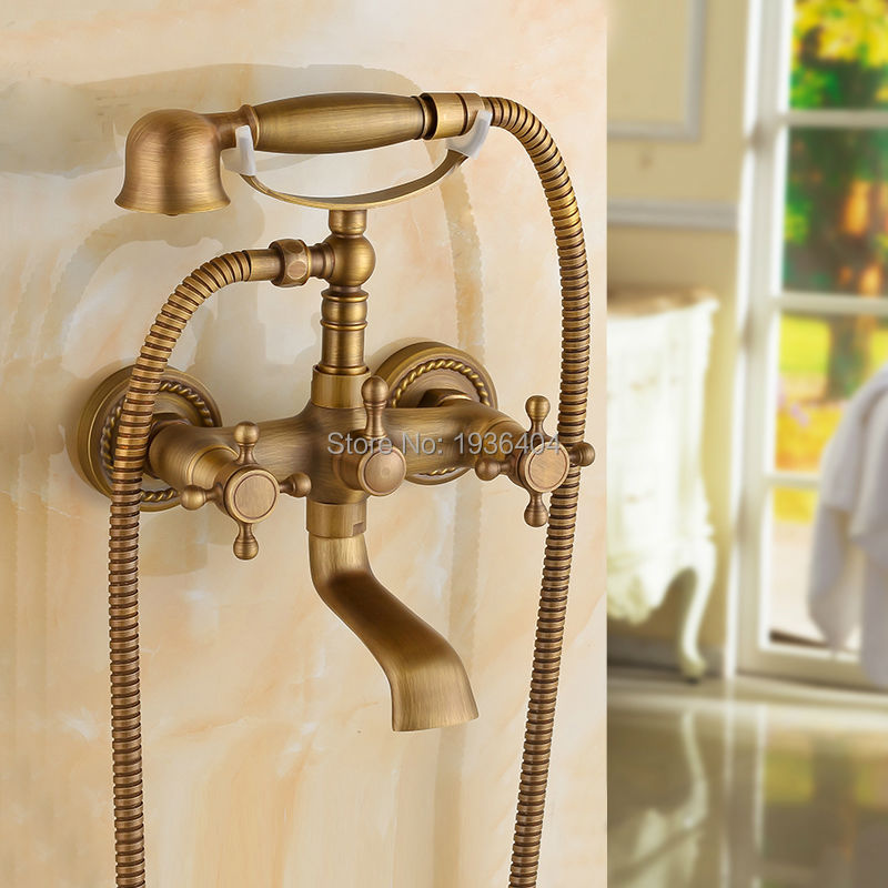 Luxury European Style Telephone Set Shower Faucet Antique Brass Classic Handshower Elegant Shower Mixer Taps SF1010<br>