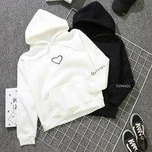 2018 Fashion Autumn Winter Fleece Heart Printed Harajuku Print Pullover Loose Lover Hoodies Sweatshirts Couple Casual Coat