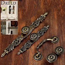 DRELD Antique Furniture Handle Vintage Cabinet Knobs and Handles Wardrobe Cupboard Drawer Kitchen Pull Knob Furniture Hareware