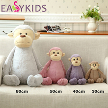 Cuddly Long Tail Fluffy Monkey Plush Toys Cushion Stuffed Soft Dolls Kid Partner Birthday Christmas Gift High Quality(China)