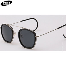 VEGA Wraparound Retro Sunglasses For Small Faces Unique Hippie Sunglasses HD Vision Hipster Glasses Extra Thin Hook Legs 007(China)