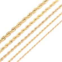 High Quality Gold Plating Rope Chain Stainless Steel Necklace For Women Men Gold Fashion Rope Chain Jewelry Gift(China)