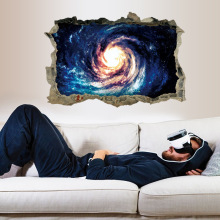 3D galaxy break wall sticker boys home bedroom decoration cosmic planet wallpaper mural self adhesive and cheap(China)