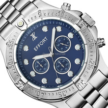 Brand New EFFORT Blue Dial Stainless Steel 6 Hands Display Relogio Masculino Wrist Quartz Mens Watches Water Resistant 200M