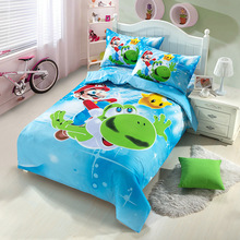 New high quality home children bedding set of Mario, 2 pillow case, 1 bed sheet and 1 duvet cover(China)