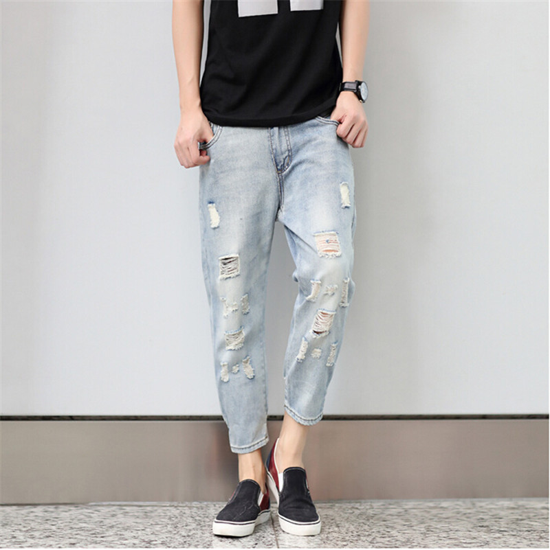 Trend Of Mens Jeans!the New Spring 2016 Hole Harlan 9 Nine Points Of Jeans Mens Foot Beggar Pants Plus Size L-5XLОдежда и ак�е��уары<br><br><br>Aliexpress