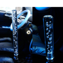 Car styling 20CM long Acrylic LED Light Clear Crystal Bubble Gear Shift Knob Manual Shifter Stick Transparent/Blue/Yellow/Red