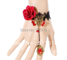 European and American popular retro fashion bracelet red flower black lace bangle finger Integrally Clothing jewelry OMT-9117