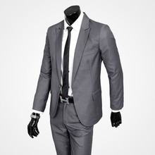 Men Suits Wedding Suit Slim Fit Men's Formal Suits Sets One button Coat Pant Light Gray Black Handsome Male Bussi (Jacket+Pants)
