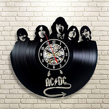 ACDC Music Vinyl Wall Clock Art Gift Room Modern Home Record Vintage Decoration