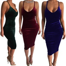 2017 Women Spring Flapper Backless Slip Velvet Sexy Bodycon Night Club Wear Clothing Pencil Dresses JL