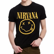 La MaxPa Brand Nirvana Music Rock Print T-shirt Smile Face Funny T Shirt Top Man Tee Casual T-Shirt Short Sleeve Hiphop Top