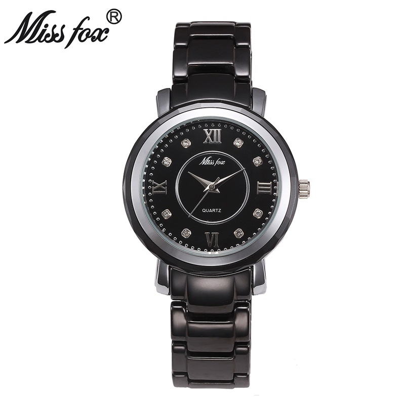 Miss Fox Brand Top Fashion Women Luxury Quartz Watch  Crystal Watches Resistant Ceramic Ladies Bracelet Clock Montre Femme 2018<br>