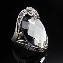 RC014 RC015 Big Luxury Exaggerated Retro Silver Color CZ Crystal Rhinestone Vintage Rings Wholesale Women Prom Jewelry Gift(China)