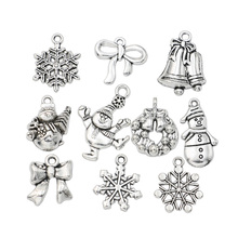 Christmas Charm Antique Silver Plated Snowflake Charms Pendants fit Bracelet Jewelry Making Accessories 10pcs(China)