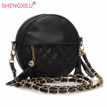 Shengxilu tassel chain small women bags fashion girls messenger bag brand leather crossbody bags candy colors ladies handbags