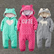 bebes 2017 winter clothes polar fleece baby overalls with a hood baby clothing baby fox clothes bear boys baby one piece jumpsui