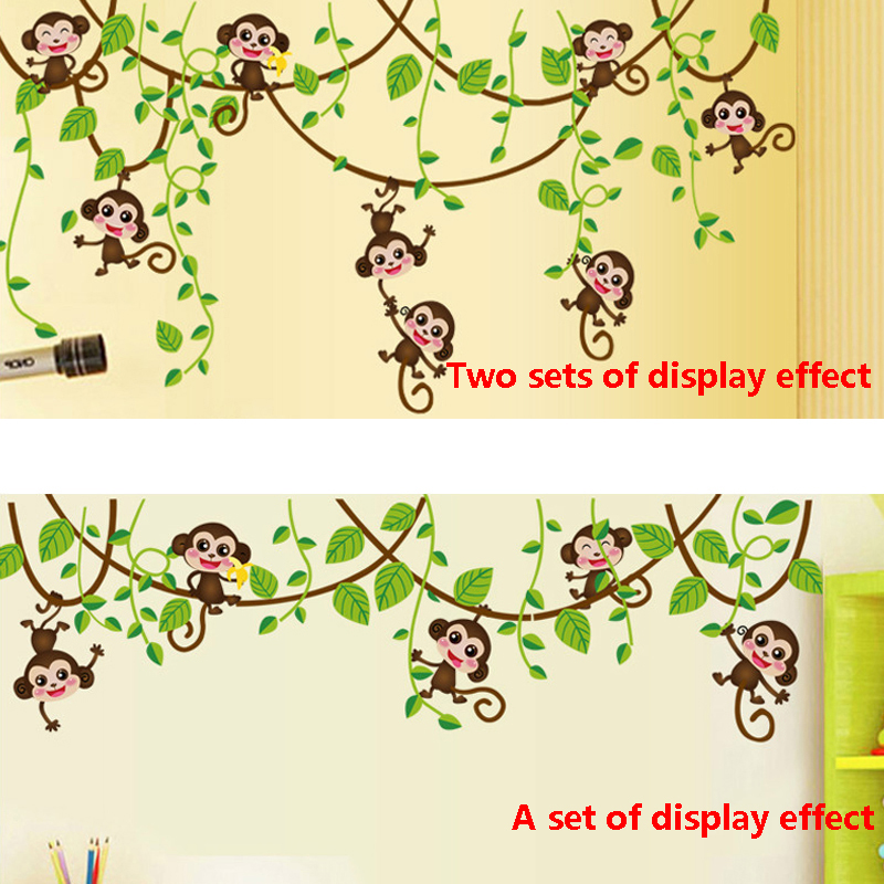HTB1kdQBSpXXXXXAXpXXq6xXFXXXK - Monkeys Vinyl Tree Wall Stickers For Kids Rooms