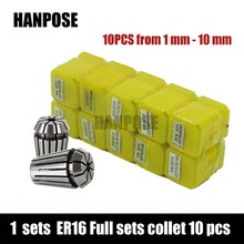 Free freight ER16 10 PCS clamp set 1 mm to 10 mm Range for milling CNC engraving machine tool motor axis spindle motor