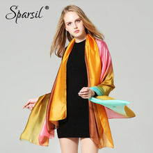 Sparsil Women Long Silk Scarf Gradient Color Hijab Shawls Soft Smooth Summer Beach Pashmina Female Elegant Wrap Colorful Scarves(China)