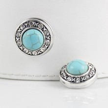 Blue Stone Crystal Mixed 12pcs Snap Buttons Fit 18mm DIY Charm Snap Bracelet Jewelry Wholesale Interchangeable DIY Snaps